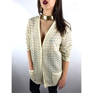 1950's cream and gold semi sheer woven cardigan